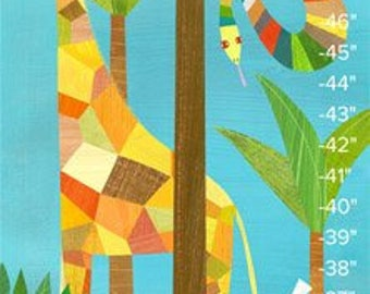 In the Jungle, Personalized Growth Chart, Children's Illustration for Kids Room or Nursery