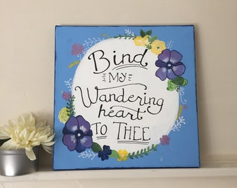 Canvas Floral Hymn Come Thou Fount Hand-Painted Blue