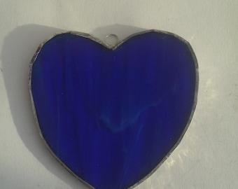 Stained glass cobalt blue heart suncatcher