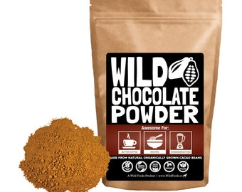 Wild Chocolate Powder, Single-Origin Peruvian Cocoa Powder From Organic Cocoa Beans 12oz