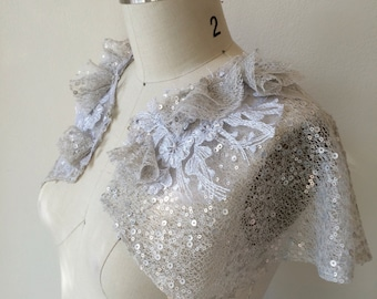 CLEARANCE Sample Sale Deco Sequin Tulle Capelet.