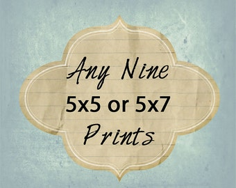 Photo Set - Any Nine 5x5 or 5x7 Photos - Your Choice - Baby Nursery - Custom Photo