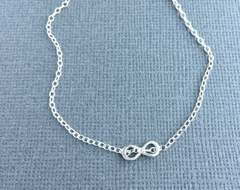 Infinity Charm Bracelet, Sterling Silver, Dainty Cable Chain, Tiny Infinity Link, Delicate Silver Bracelet, Dainty Silver Anklet, Figure 8