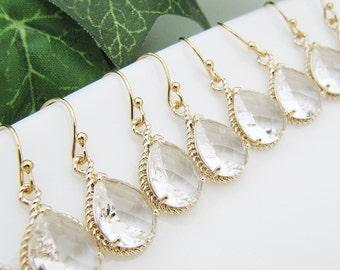 10% OFF SET of 3,4,5 Bridal Earrings Bridesmaid Earrings Bridal Jewelry Bridal Party gift Glass Pear Cut Earrings Bridesmaid Gift (E-B-0078)
