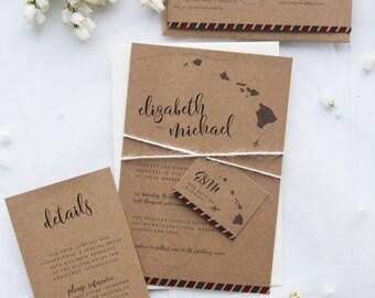Destination Rustic Wedding Invitation Sets, Premium Kraft Cardboard, Printable Files or Printed Cards, Twine Wedding Invitations, Travel