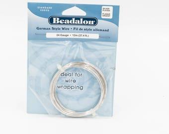 24 GA Round Silver Wire, Silver Wire Wrapping Wire, Beadalon Silver Beading Wire, German Style Wire, Half Hard Wire