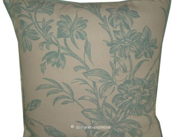 Cushion Cover Sham Laura Ashley Lloyd Duck Egg (Blue on Cream) Fabric