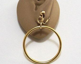 Ring Hoops Clip On Earrings Gold Tone Vintage Large Open Dangle Door Knocker Style Lightweight Round Bead Dangles