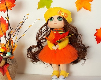 Alice Doll Handmade Doll Fabric Doll Textile Doll Cloth Doll Home Decoration Doll Interior Doll Handmade Toy Doll Autumn Thematic Doll