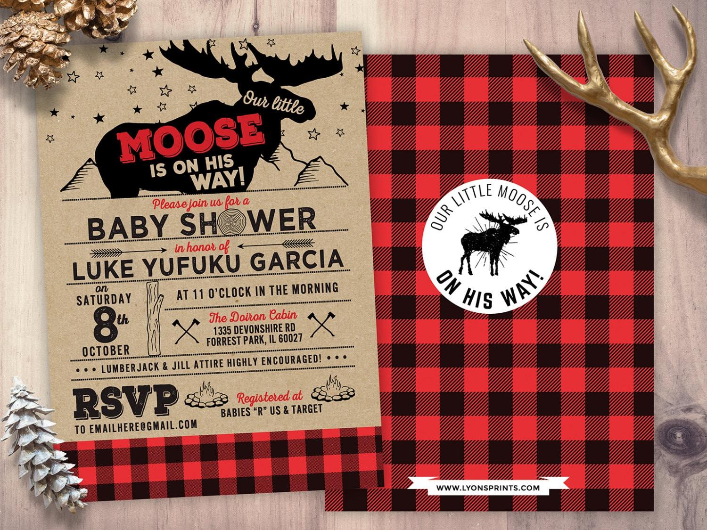 Lumberjack Baby Shower Invitation // Buffalo Plaid Woodland