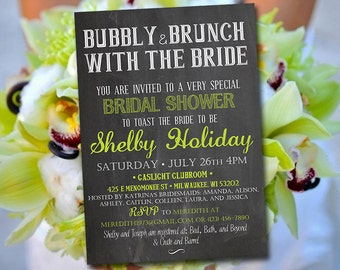"Chalkboard Bridal Shower Invitation - ""Bubbly & Brunch With the Bride"" Lime Green Chalkboard Wedding Shower Template - DIY Wedding"