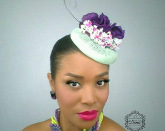 Mint Green Pillbox, Purple Silk Flower, Vintage Inspired Hat, Feather Accented Hat, Mini Cocktail Hat, Wedding Hat,