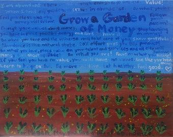 Spiritual Acrylic Painting Print- Garden of Money