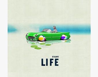 Enjoy life 8 - collage - mixed media - vintage -  29,7 x 29,7 cm