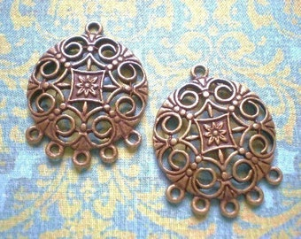 4 Earring Chandelier Findings 30mm-25mm  Brass Filigree antique bronze finish (F6)