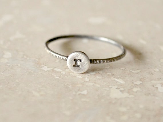 Silver Initial Ring, Custom Personalized Letter Monogram Ring