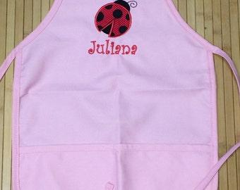 Personalized Ladybug Child Apron Kids Girls Kitchen Chef Hat Bakery