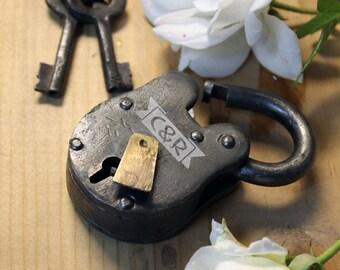 Custom Love Lock, Personalized, Engraved Love Lock, Antique Love Lock, Paris Lock, Antique Lock, Steampunk Lock, Vintage Lock --LOCK-ANT-C&R