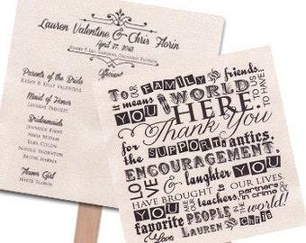 Fan Wedding Program Customized Wedding Program Square Wedding Program 2 Sheets