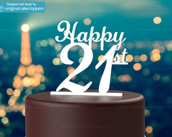 "21st Birthday Cake Topper - ""Happy 21st"" - WHITE - OriginalCakeToppers"
