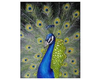 Peacock painting - LARGE original wall art - realistic peacock art - traditional canvas painting - colorful decor - fine art - rainbow bird