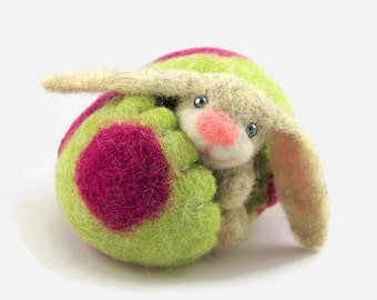 Easter Bunny Decor, Cute Easter Bunny in a Felted Easter Egg, Green Spring Decoration, Felted Ornament