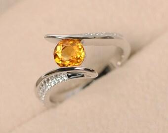 Citrine ring, yellow gemstone ring, crystal ring, quartz ring, sterling silver