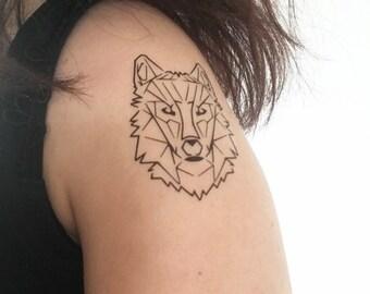 Geometric Fox - Tamporary Tattoo
