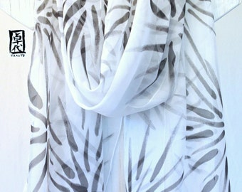 Hand Painted Silk Shawl, White Silk Scarf, Japanese Silk Scarf, Chiffon Scarf, Evening Wrap, Japanese Hanabi Flowers, Large Silk Scarf,