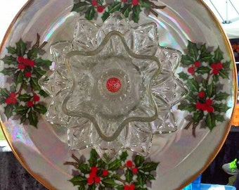 Iridescent Holly Glass Garden Flower Recycled Repurposed Upcycled Christmas Gift