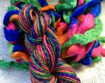 Bright Handspun wool yarn