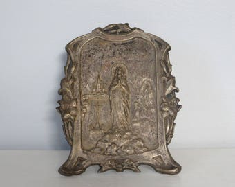 """Art Nouveau Silver Plated E. Dropsy """"Je Suis L'Immaculee Conception"""" Blessed Virgin Mary at Lourdes Standing Plaque"""