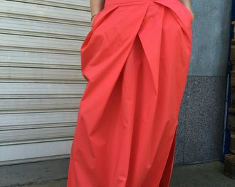 Maxi Women Skirt /  Long Loose Cotton Skirt / Oversize Summer Maxi Skirt with Pockets / EXPRESS SHIPPING / MD 2009