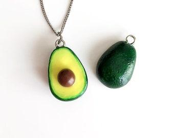 Avocado Necklace, bff Avocado, Miniature Food, Polymer Clay Avocado, Handmade, OOAK, Gift Idea