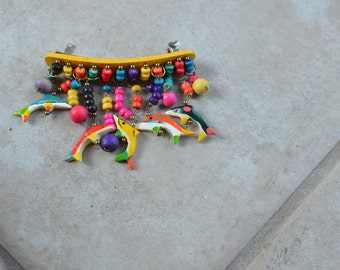Vintage Hair Jewelry Barrette with Color Wood Dangle Beads and Fish