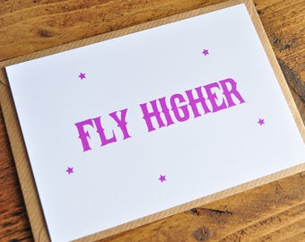 Fly Higher Typography Postcard Print | Inspirational Print A6 A5 A4 | Typography Card | Hot Pink Star Print | Positive Fly Higher Wall Print