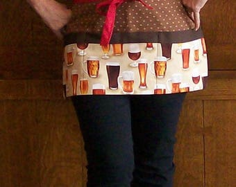 Beer Apron - Bar Apron - Waitress Apron with Beer - Server Apron - Plus Size