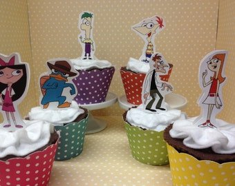 Phineas and Ferb Party Cupcake Topper Decorations - Set of 10