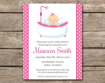Baby Tub Invitation, Baby In A Tub Shower Invitation, Rub A Dub Dub Invitation, Baby Girl Shower, Tub Baby Invitation, PRINTABLE