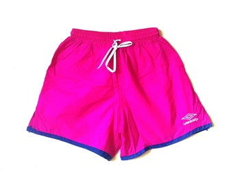 Vintage 1990s Umbro neon pink soccer Umbro nylon shorts