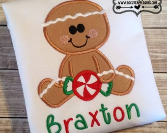 Gingerbread Boy// Personalized Christmas shirt