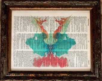 Rorschach Ink Blot 9 Art Print on Dictionary Book Page