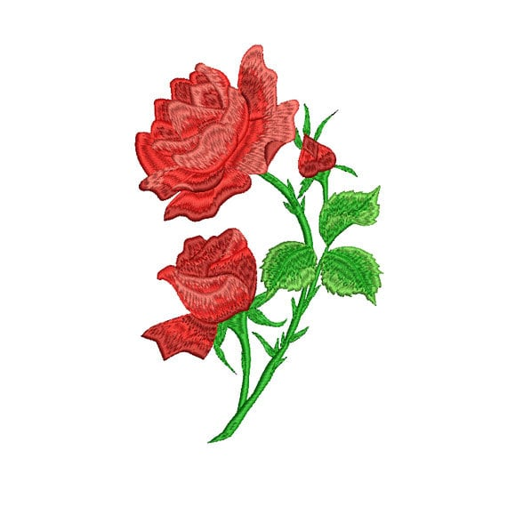 Rose embroidery design flower machine