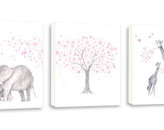 Nursery Wall Hanging - Canvas Nursery Art - Baby Nursery Decor - Pink and Gray - Kids Wall Art - Elephant Nursery Canvas - S023W