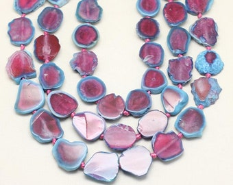 Polished Pink Blue Agate Slab Beads Jewelry,Drilled Natural Dragon Veins Agate Slice Beads Pendant,Full Strand