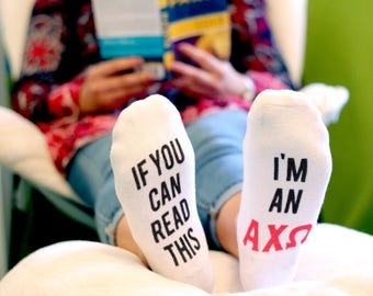If You Can Read This - I'm A/An - Select Your Sorority Socks - Printing on the Bottom of the No Show Socks - Sold by the Pair