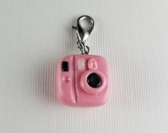 Camera Polymer Clay Charm - Pink Polaroid Camera Necklace - Camera Phone Charm - Photography Gift