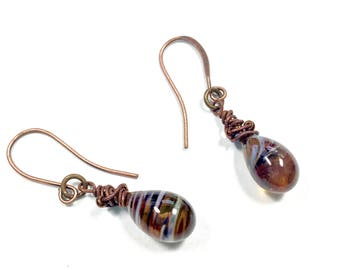 Artisan Crafted Glass Drop Earrings, Dangle and Drop Glass Earrings