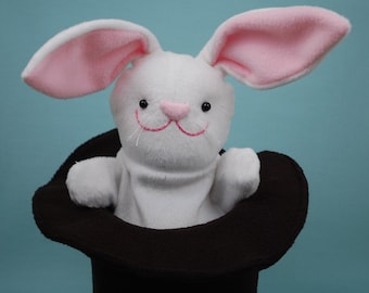 Rabbit in a Magic Hat Puppet - PDF Sewing Pattern With Step-by-Step Photos