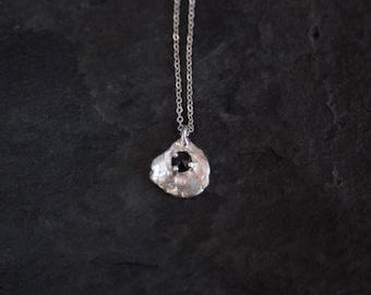 Sterling Silver Black Spinel Necklace / Spinel Necklace / Gemstone Necklace /